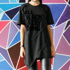 All Black Asymmetrical  layered tee